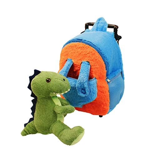 Funday Dinosaur Kids Backpack with Removable Wheels - Little Kids Luggage Backpack with Stuffed Animal Toy Dinosaur