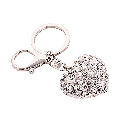 CqmzpdiC Love Heart Shape, Shiny Rhinestones, Fine Workmanship Fashion Love Heart Rhinestone Keyring Women Key Chain Bag Hanging Decor - -