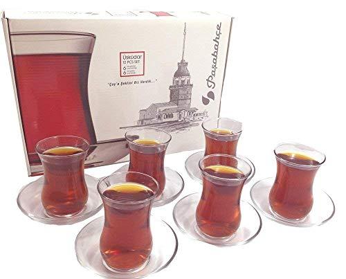 Pasabahce Design - Juego de vasos y platillos de te turcos (6 unidades, 120 cc) 4 onzas Vaso de te turco apto para lavavajillas