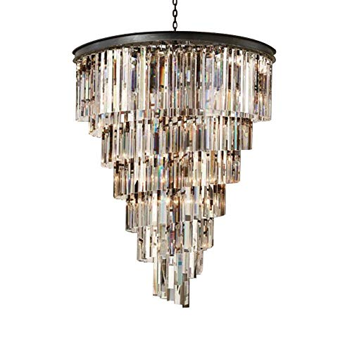 DAMAI STORE Luxury American Club Spiral K5 Crystal Chandelier Simple Light Luxury Hotel Creative Engineering Stairwell Chandelier Diameter 50cm High 65cm Bright (The Crystal Chandeliers Light Up The Paintings)