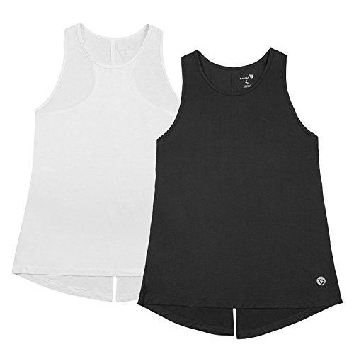 Baleaf Women's Open Back Workout Tops Knotted Back Yoga Active Tank Tops Black/White 2 Pack Size M