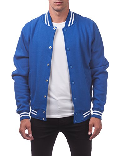 (Pro Club Men's Varsity Fleece Baseball Jacket, Royal/Royal, X-Large)