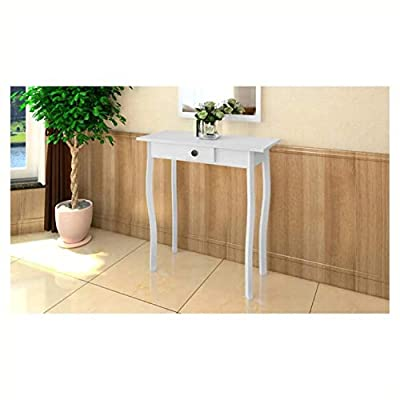 HomyDelight End Table, Console Table MDF White