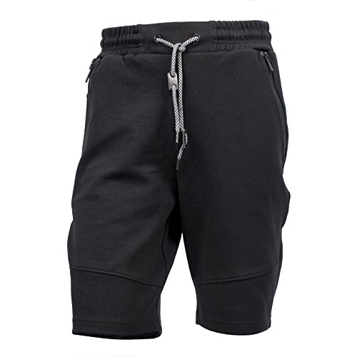Yes Way Men's Classic Fit Casual Soft Fleece Cargo Short Pants-Black L (Classic Fleece Pants)