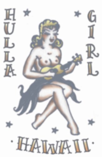 Hula Girl Tattoo Hawaii (Vintage Hawaii Pin-up Hula Girl Temporary Tattoos / Set of 3 by Tinsley)