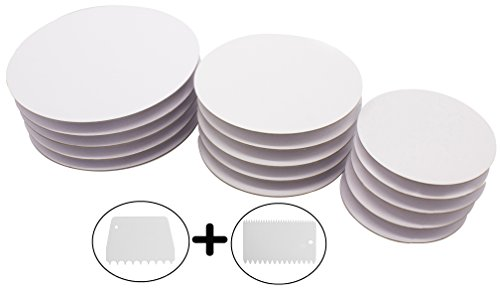 - Extra Sturdy Cake Boards Set of 15 | 5 Each of 6 inch, 8 inch and 10 inch | Cake Base, Cake Circles Bundle with Cake Scrappers and Cake Comb for Decoration | Set for Complete 3 Tier Cake