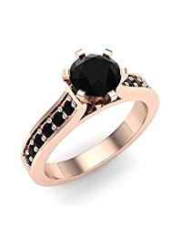 6 Prong set Black Diamond Engagement Ring Accented Shank 3/4 Carat Total Weight 14K Gold