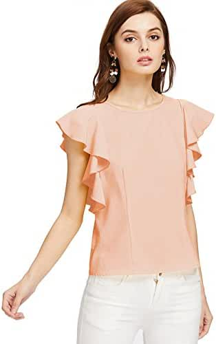 MakeMeChic Women's Solid Ruffle Sleeve Summer Tops and Blouses