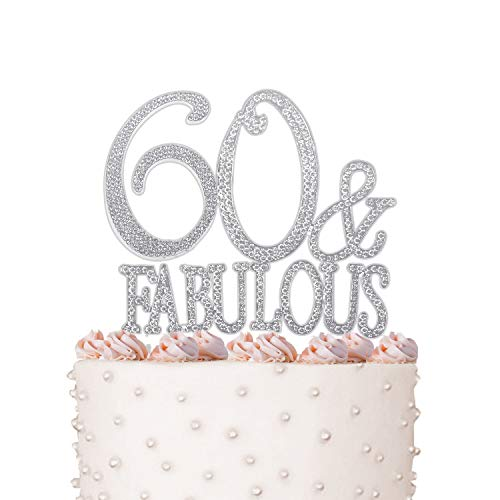 Rhinestone Crystal Cake Topper Silver, Gold Numbers, Letters, Bling Love, Wedding, Birthday, Anniversary,Sparkles, Shine, Party Decorations Supplies (60 & Fabulous)