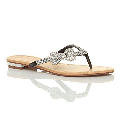 Damen Strass Schleife Sommer Strandhochzeit Abend Zehentrenner Sandalen Größe Schwarz