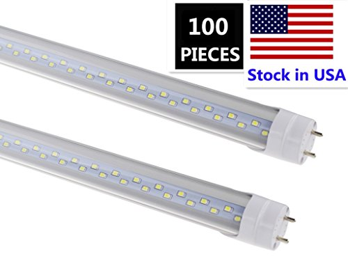 T8 led Shop Light Tube 4ft, 48 led Light Fixture 28W,6000K Cool White, Dual-Row LED Fluorescent Bulbs,Clear Cover, G13 Base Two Pins (Replace 65w), Bypass Ballast,Dual-End Powered,Pack of 100… (100k Tube Fluorescent 4)