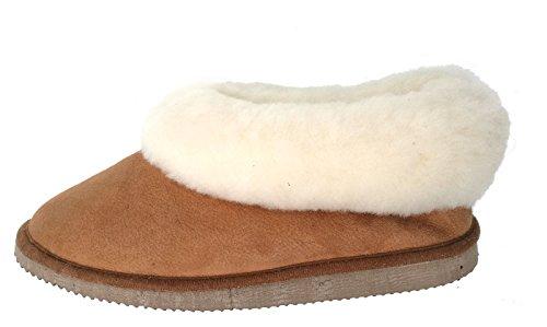 chaussons garçons camel fourrés peau de mouton - tannage naturel - 38