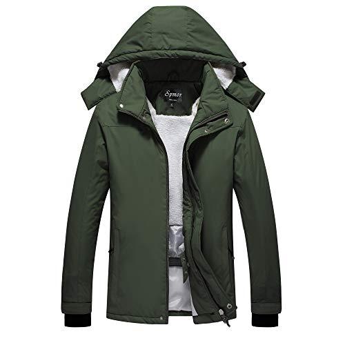 Spmor Women's Waterproof Ski Jacket Mountain Rain Coat Windproof Skin Hooded Jacket Green Small