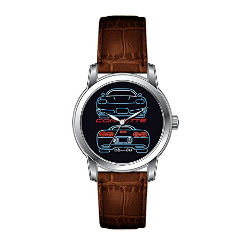 JLS Creative Watches Men's Vintage Design Leather Brown Band Wrist Watch Corvette Watch