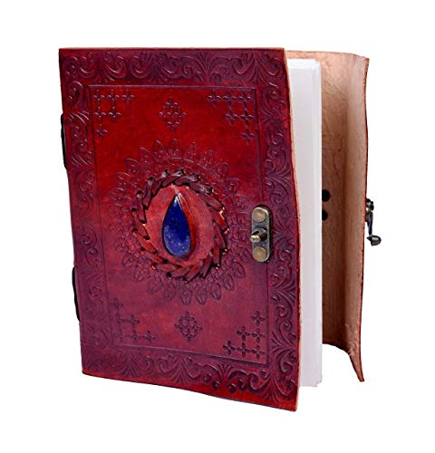 (Sankalp L Creation Embossed Stone Journal Vintage Notebook Handmade Diary, Feat: Coptic Binding and Vintage Brass Lock, 100% Pure Leather with free shipping, Christmas Heavy Discount Sale )