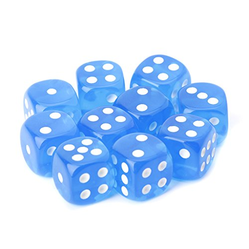 Cicitop 10 Pieces Transparent Six Sided Round Corner Game Dices, Lightweight and Portable, Perfect for Board Games, Math Teaching, Party Favor, Dazzling Toy and so on. (Blue)