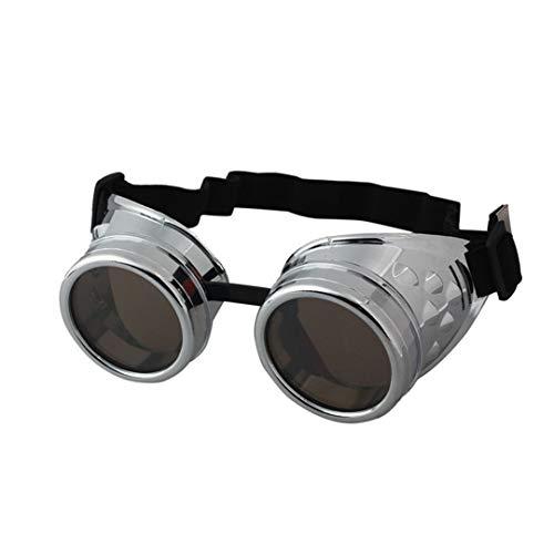 YHNSHKHKU Vintage Style Steampunk Goggles Welding Punk Glasses Cosplay Silver]()
