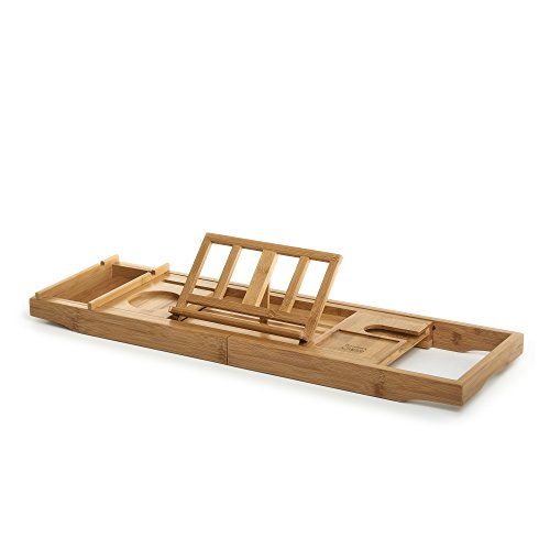 Prosumer's Choice Bamboo Bathtub Caddy with Extra-Long Sides and Built-in Phone/Tablet and Wine Glass Holder