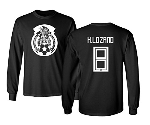 Tcamp Mexico 2018 National Soccer #8 Hirving LOZANO World Championship Men's Long Sleeve T-Shirt (Black, Adult Large)