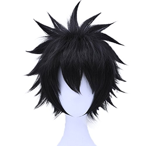 (Anogol Hair Cap+ Short Wavy Layered Black Cosplay Wig Synthetic Hair Full Wigs for Costume)