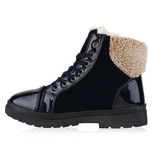 Damen Stiefeletten Stiefel Worker Boots Warm Gefüttert Kunstpelz Flandell Dunkelblau Autol