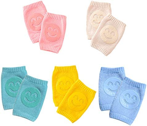 5 Pairs Anti-Slip Knee Pads for Baby Crawling, Unisex Infant Toddlers legs Warm Kneepads