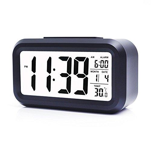 트래블 clock 디지탈 자명종 야간 라이트 여행 clock 여행 알람 시계 슬림LEDclock,록 스마트 백 라이트 알람 시계 데스크 크로 구 #방향 하여 시계 큰 문자 보기 편리하 다기능 탁상시계(with대형LCD표시 날짜,온도,Snooze,오피스 침실용 여행 (Black)