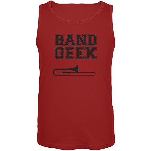 Band Geek Trombone Red Adult Tank Top - Small
