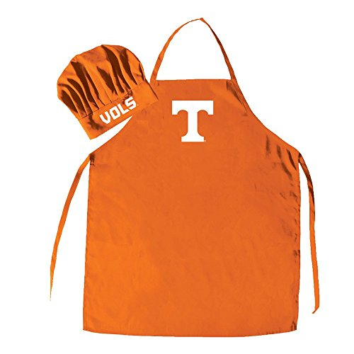Ncaa Team Logo Hat - Pro Specialties Group NCAA Tennessee Volunteers Men's Chef Hat with Apron, Full Color Team Logo, One Size