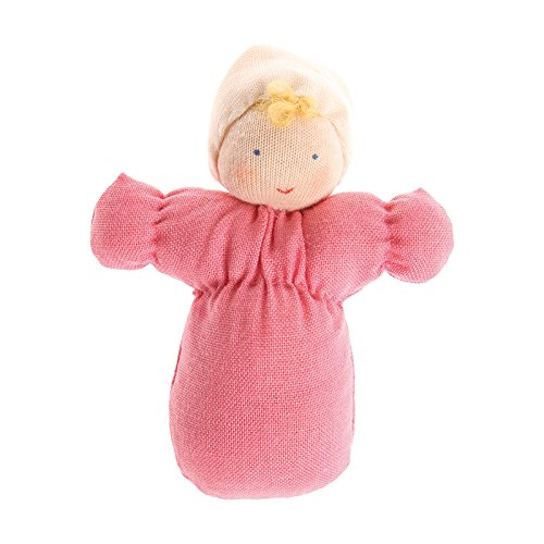 Toys Waldorf Dolls (Grimm's Handcrafted European Small Waldorf-Style Dollhouse Baby Doll, Pink Outfit with Blond Hair)