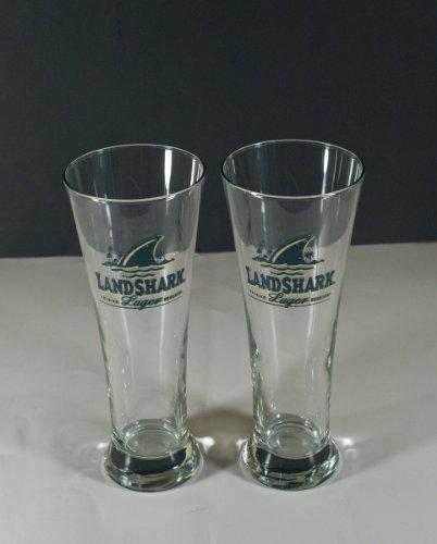Jimmy Buffett Landshark Lager Pilsner Style Glasses, Set of (Shark Glass Pilsner Glass)