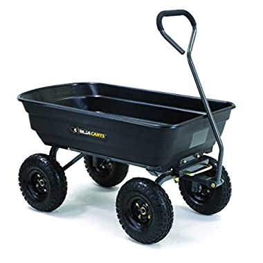 Gorilla Carts Poly Garden Dump Cart with Steel Frame and 10  Pneumatic Tires with a Capacity of 600 lb, Black