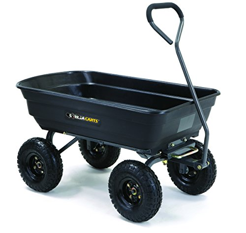 Pneumatic Wheelbarrow - Gorilla Carts GOR4PS Poly Garden Dump Cart with Steel Frame and 10-in. Pneumatic Tires, 600-Pound Capacity, Black