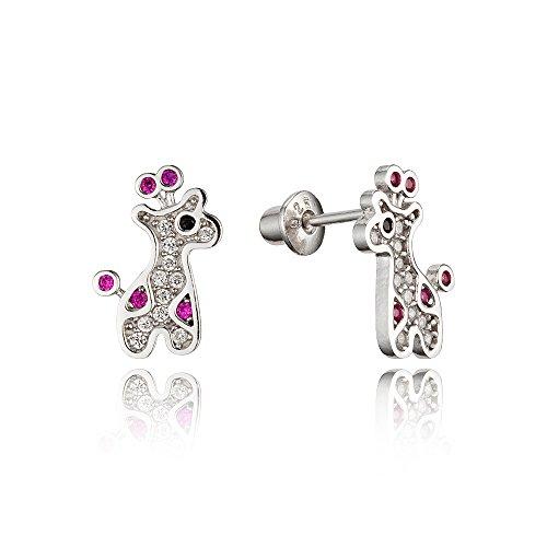 925 Sterling Silver Rhodium Plated Giraffe Cubic Zirconia Screwback Baby Girls Earrings