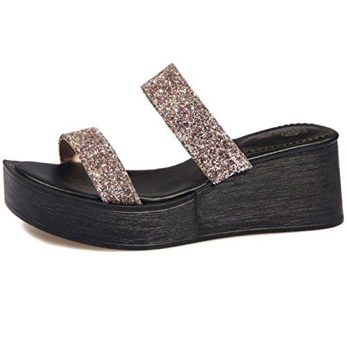 COOLCEPT Femme Mode Bout Ouvert Mules Plateforme Compense Sandales Brillant Soiree 70%OFF