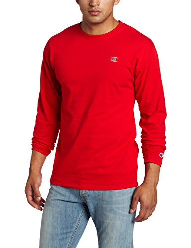 Champion Men's Jersey Long Sleeve T-Shirt, Crimson, Medium ()
