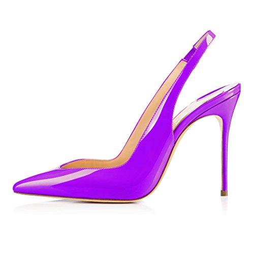 à Escarpins Slingback EDEFS Talon Violet Brillant l'arrière Femme Ouvertes Chaussure femme Aiguille qOxwx