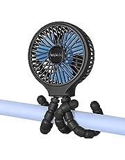WiHoo Mini Handheld Stroller Fan,5200mAh Personal Portable Fan Car Seat Baby Fan with Flexible Tripod Fix on Stroller,USB or Battery Operated Desk Fan Adjustable 3 Speeds for Camping