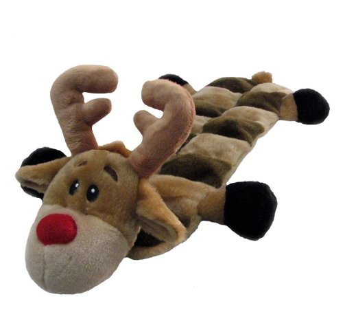 Outward Hound Kyjen 32096 Squeaker Mat Holiday Reindeer 16 Squeaker Plush Squeak Toy Dog Toys, Large, Brown Kyjen Plush Squeak Mat