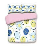 dark grey curtains asda iPrint Pink Duvet Cover Set,Full Size,Random Doodle Circles Abstract Floral Children Pattern,Decorative 3 Piece Bedding Set with 2 Pillow Sham,Best Gift for Girls Women,Light Yellow Grey Baby Blue