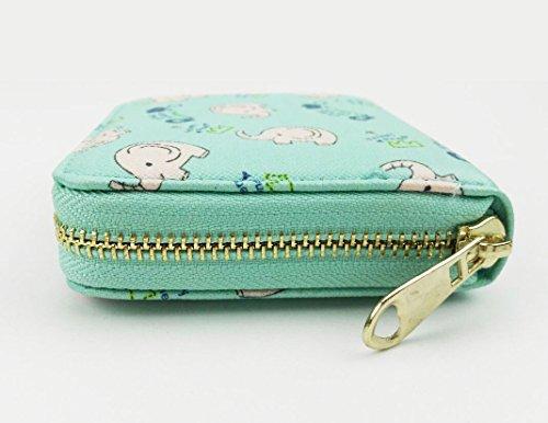 Ylen Damen Klein Geldbeutel Elefant Reißverschluss Portemonnaie Kurz Geldbörse PU Leder Tasche Grün I0P1o