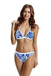zeraca Women's Foral Triangle Bikini Swimwear (S6, Blue Lagoon)