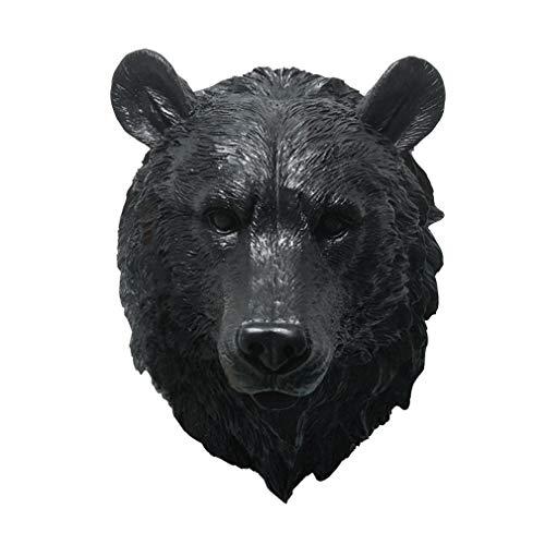 LY-Home Resin Black Bear Head Wall Sculptures Wall Mount Bust Wall Hanging Farmhouse Decor (Sculpture Head Bust)