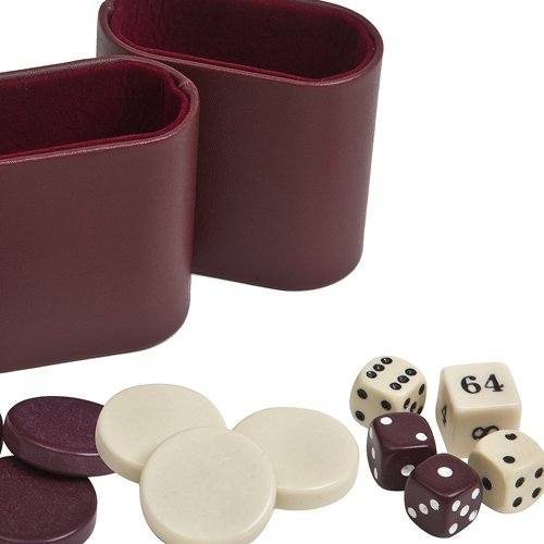 Backgammon Checkers, Dice & Two Dice Cups-Maroon/Ivory 1 1/4
