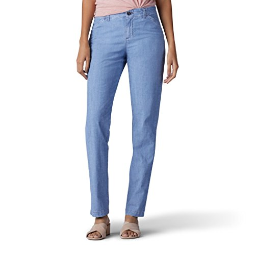 LEE Women's Eased Fit Tailored Chino Pant, Chambray, 8
