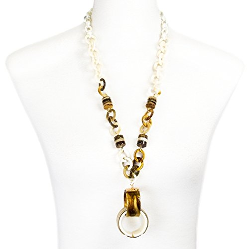 Me Plus Women Fashion Faux Round Tortoiseshell Chunky Chain Link Pendant Long Necklace (Ivory) (Shell Faux Tortoise Necklace)