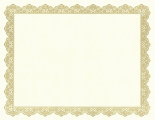 Optima Gold Border (Parchment Paper Certificates, 8-1/2 x 11, Optima Gold Border, 25/Pack, Total 8 PK, Sold as 1 Carton)