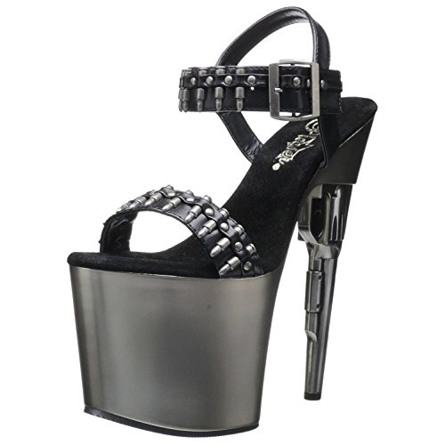 7 1/2 Inch Sexy High Heel Shoes Gun Heel Bullet Ammo Straps Size: 9