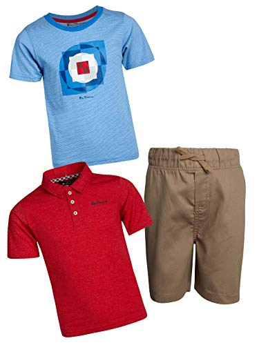 Ben Sherman Little Boys and Toddler 3-Piece Polo, T-Shirt, and Short Set, Khaki/Red/Blue, Size 6'