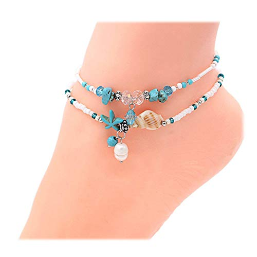 Geerier Boho Starfish Pearl Anklet Turquoise Starfish Glass Shell Charm Handmade Sea Animal Ankle Bracelet Beach Foot Chain Jewelry 2pcs Pack